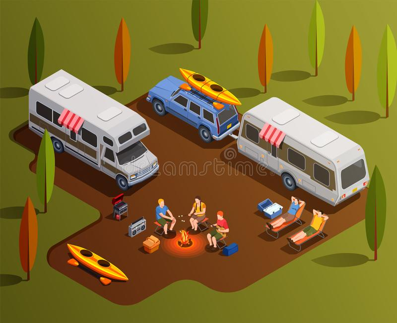 Friendly Camping Isometric Composition royalty free illustration