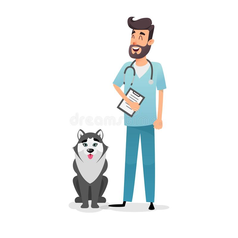 Friendly cartoon veterinarian character. Happy vet doctor with a folder and a stethoscope stands near the dog husky. A vector illustration