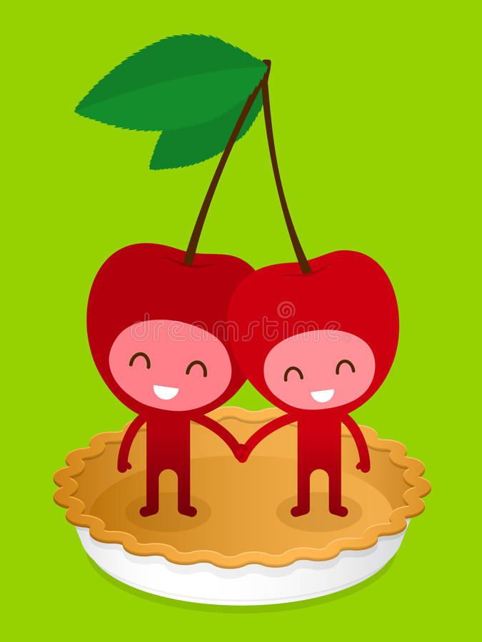Friendly Cherry Couple On Pie Stock Photo