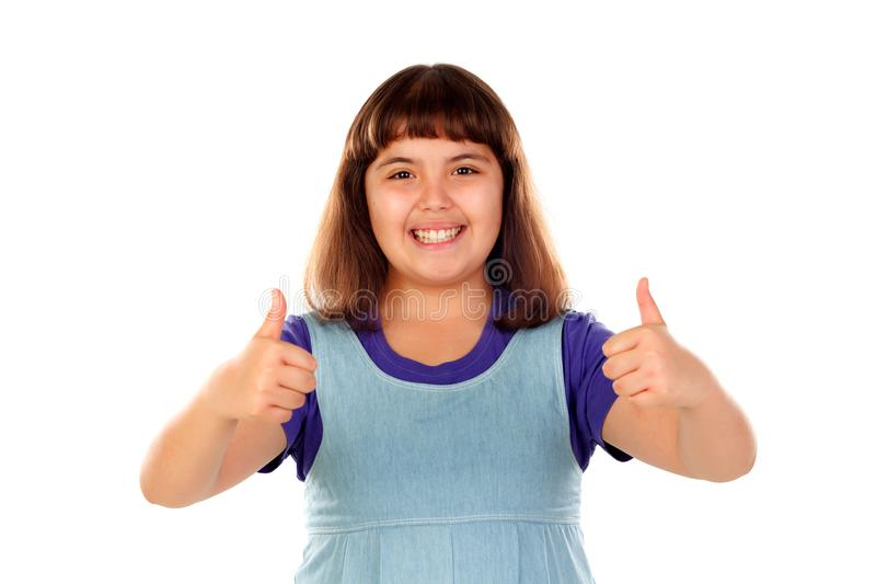 Friendly child saying Ok with her thumbs stock photos