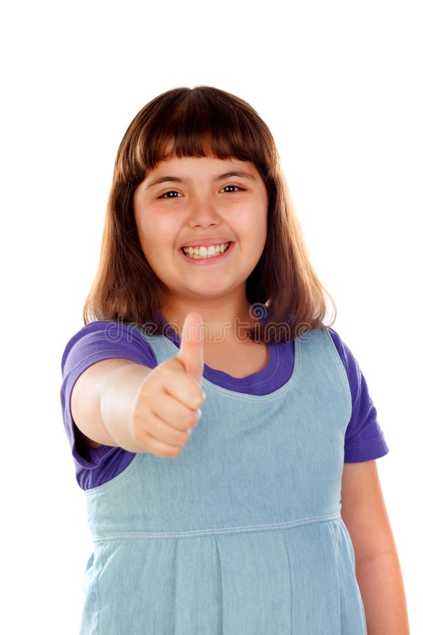 Friendly child saying Ok with her thumbs stock photography