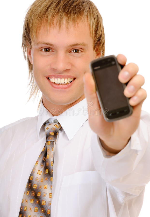 Friendly Confident Man Holding Mobile Phone Stock Photography