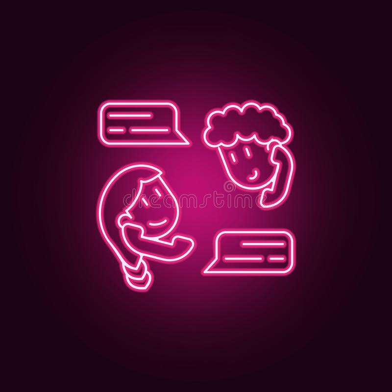 Friendly correspondence icon. Elements of Friendship in neon style icons. Simple icon for websites, web design, mobile app, info. Graphics on dark gradient royalty free illustration