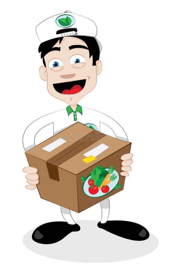 Friendly courier delivering fresh food vector illustration