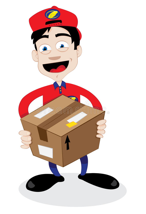 Friendly delivery man. A cartoon representing a young friendly courier delivering a brown carton package and smiling stock illustration