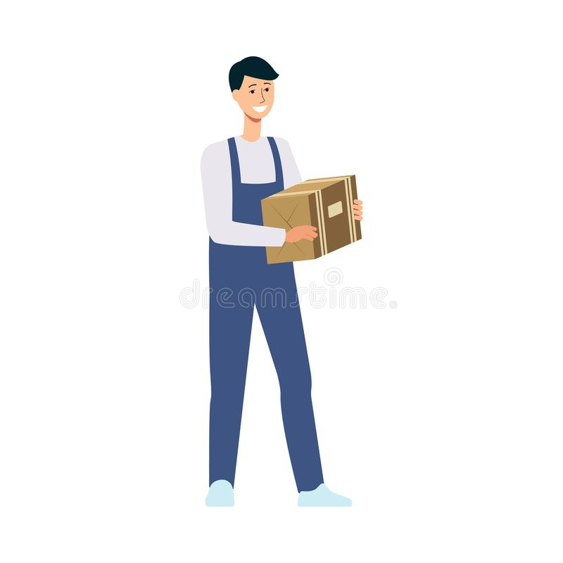 Friendly delivery man holding cardboard box stock illustration