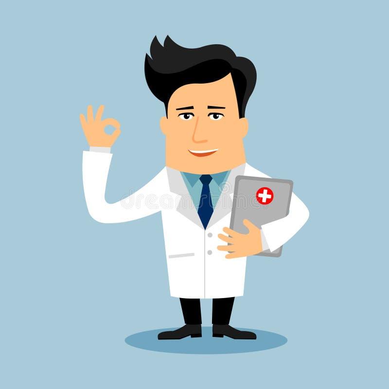 Friendly Doctor flat cartoon character royalty free illustration