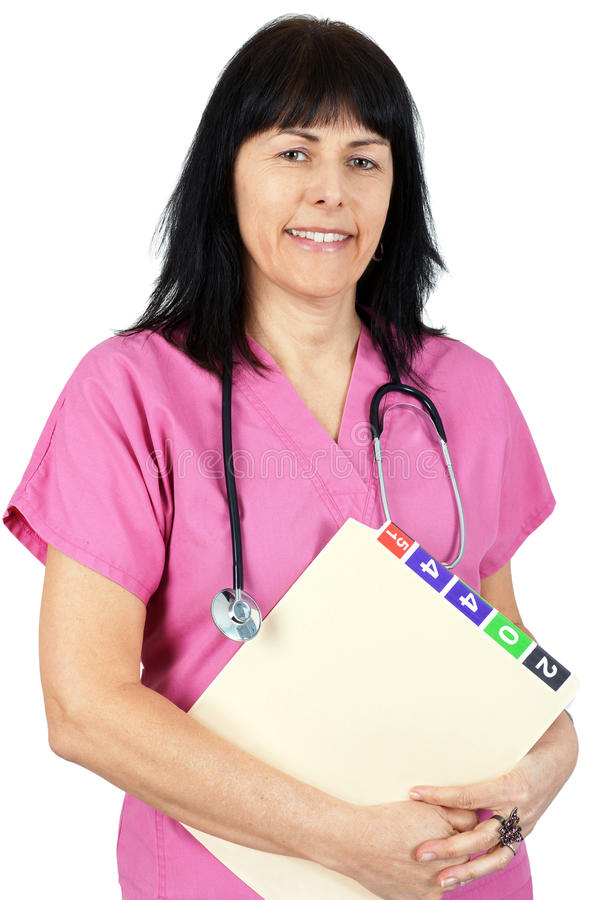 Download Friendly doctor in pink stock image. Image of white, isolated - 30502623