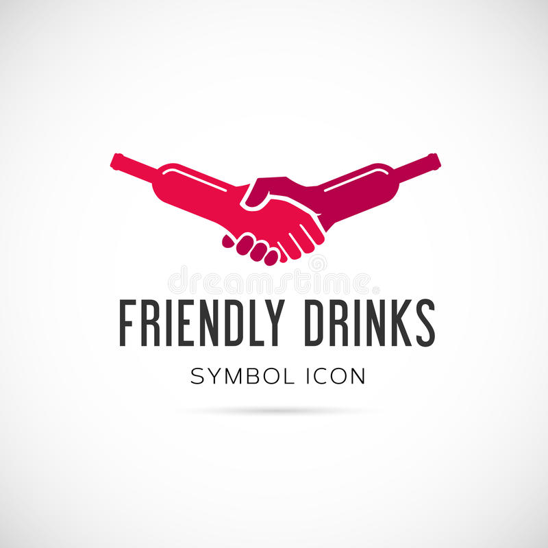 Friendly Drinks Bar Vector Concept Symbol Icon or. Logo Template Isolated stock illustration