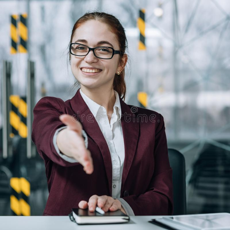 Friendly employee hiring intern hand welcome stock photo