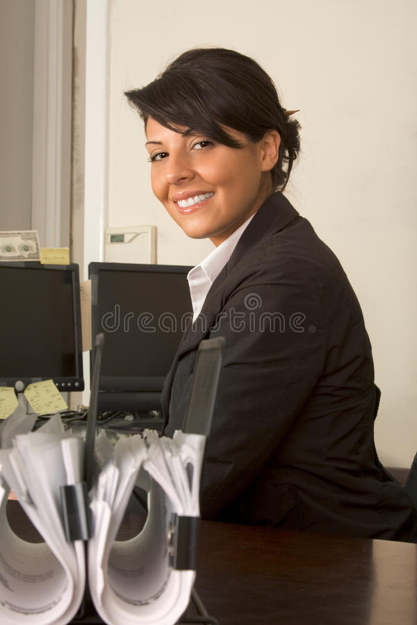 Friendly executive assistant woman business suit stock photos