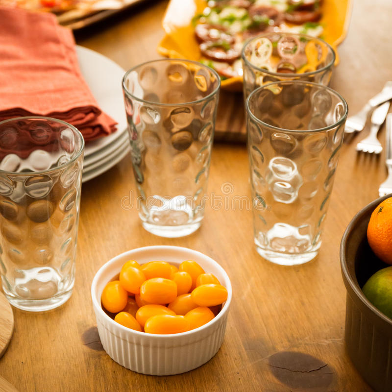 Friendly family dinner party preparation stock photos