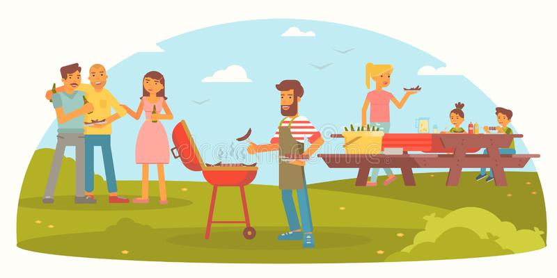 Friendly family on picnic flat color illustration. Cheerful men, women and children cartoon characters. Summer vacation flat color drawing. BBQ party. Outdoor stock illustration