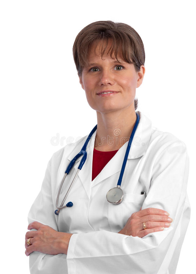 Friendly female caucasian doctor with stethoscope stock photography