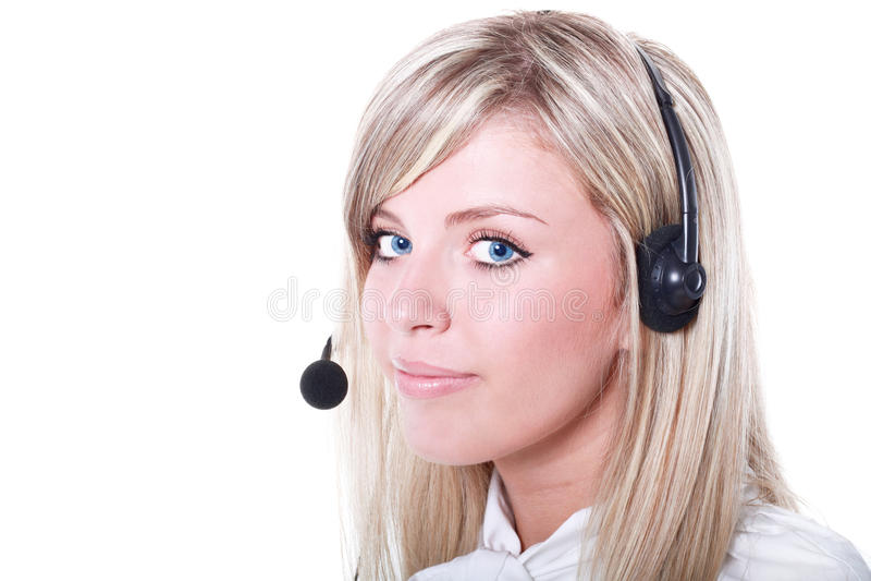 friendly female helpline operator royalty free stock photo