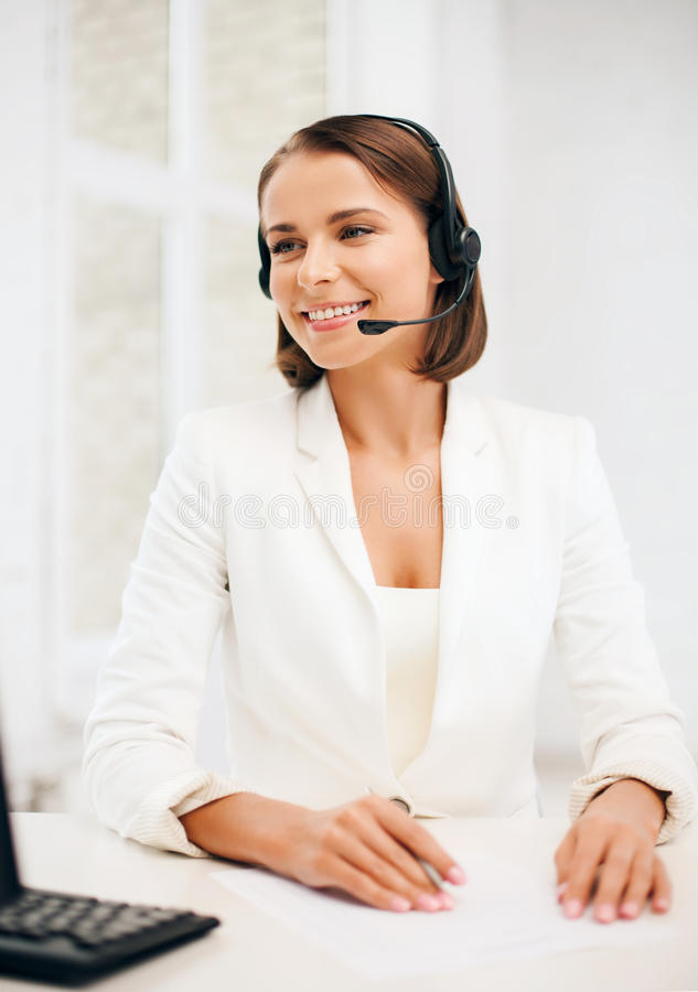 Download Friendly Female Helpline Operator Stock Image - Image: 34603335