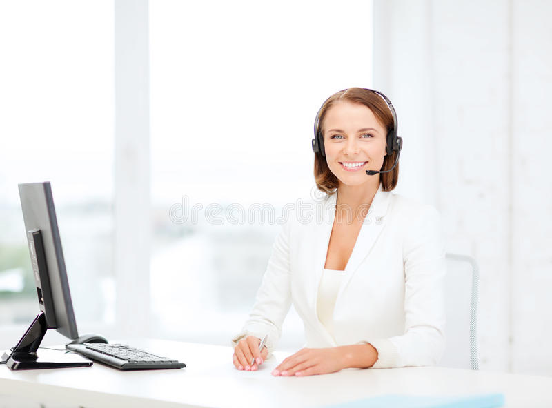 Download Friendly Female Helpline Operator With Computer Stock Image - Image of female, helpdesk: 40042451