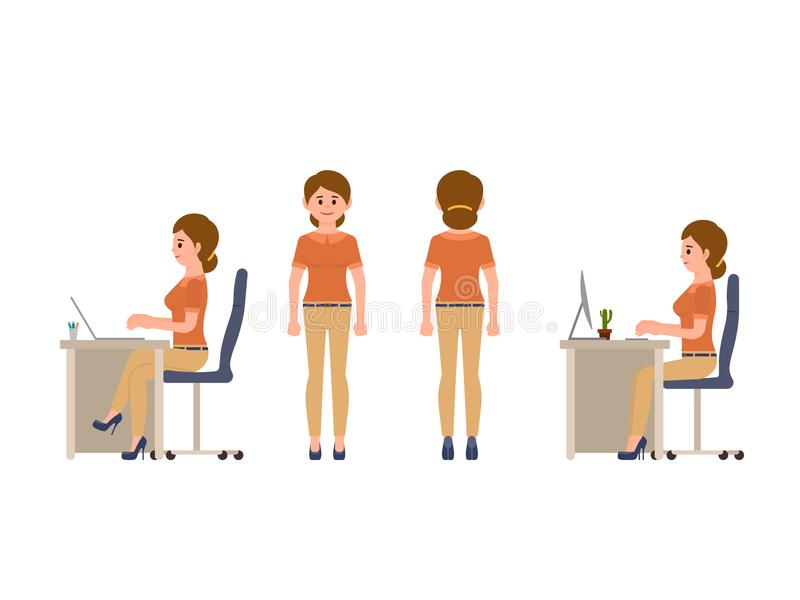 Friendly female office worker sitting at the desk, standing. Lady manager in smart casual look. Friendly female office worker sitting at the desk, standing stock illustration