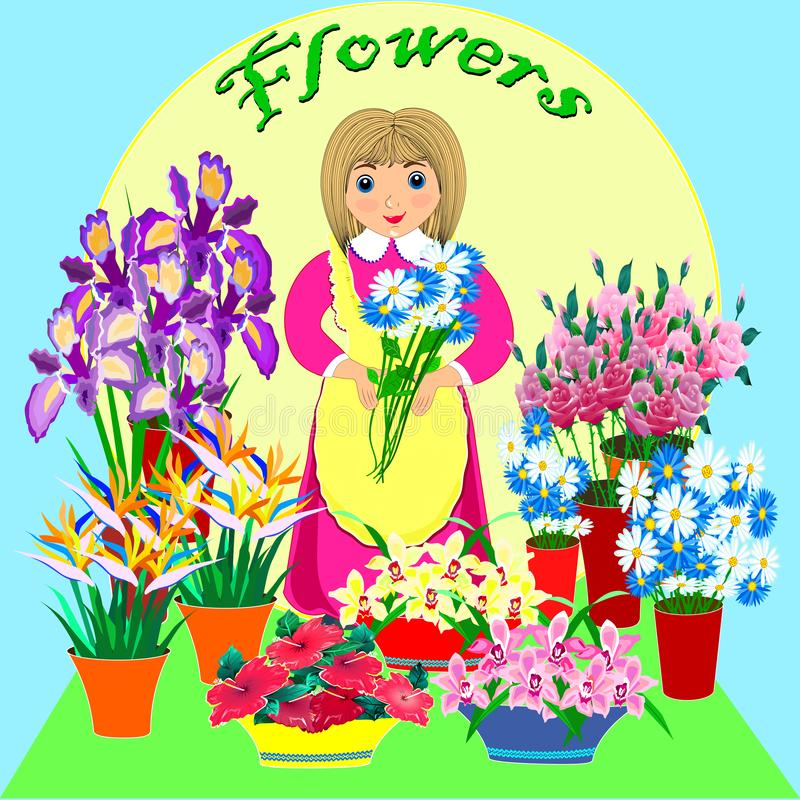 Friendly florist. business lady flower shop. Small business technology.Flat design. Vector.  vector illustration