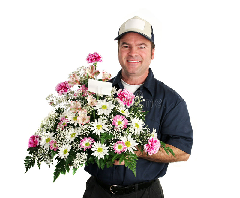 Friendly Flower Delivery Man royalty free stock photography