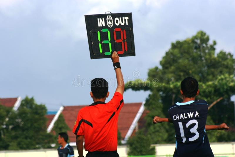 Friendly football match. A friendly football match between persikaba blora (Central Java) against Persela Lamongan (East Java) in the sports stadium in Blora stock photo