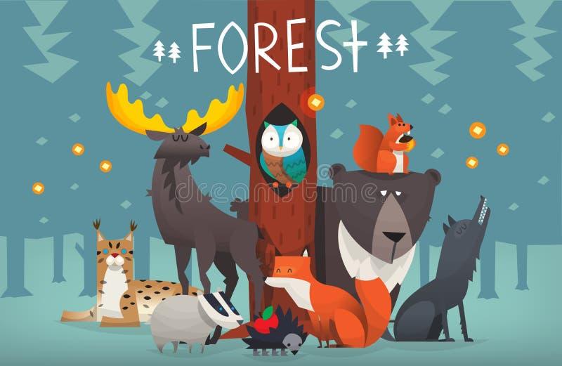 Friendly forest animals vector illustration stock illustration