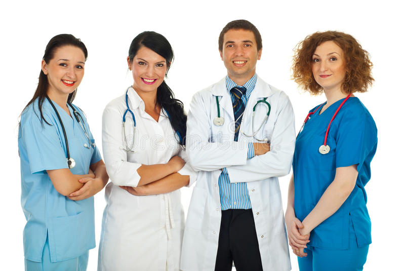 Friendly four doctors team stock photography