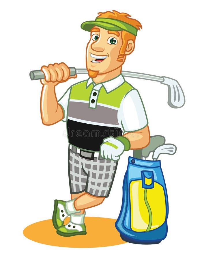 Friendly Golfer Cartoon. Cartoon Illustration of friendly golf athlete posing vector illustration