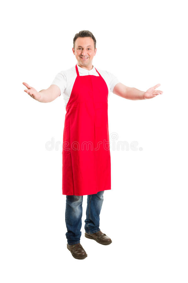 Friendly hypermarket employee with arms wide open. Inviting people to opening or inauguration royalty free stock photos