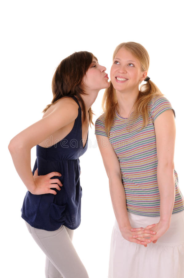 Friendly kiss royalty free stock photography