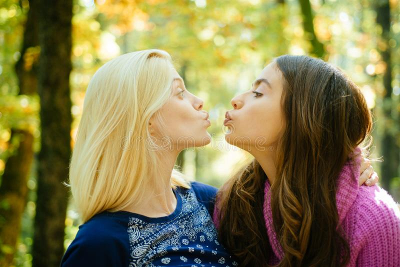 Friendly kiss. Glad to see you. Girls friends kissing. Girlish friendship concept. Blonde and brunette walking in autumn stock photos