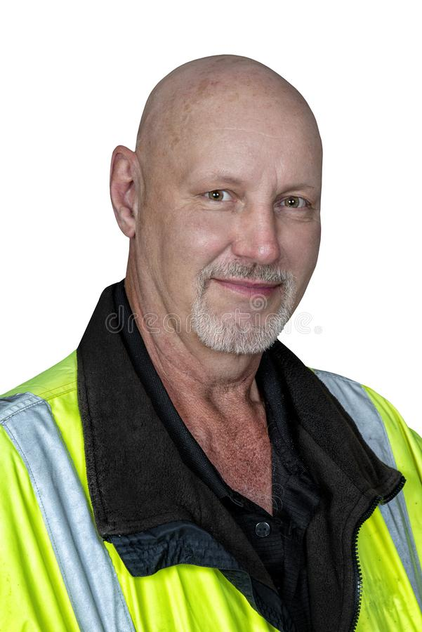 Friendly Mature Worker in Reflective Clothing Isolated on White stock photo
