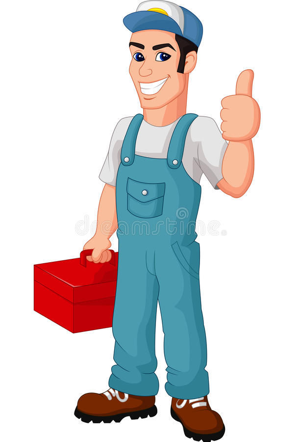 Friendly Mechanic cartoon with toolbox giving thumbs up stock illustration