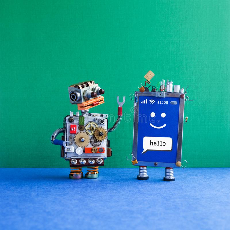 Friendly mobile smartphone gadget robot assistant. Funny robotic toy character, creative design touch screen phone. Device, light bulb capacitors sim card. Sms royalty free stock images