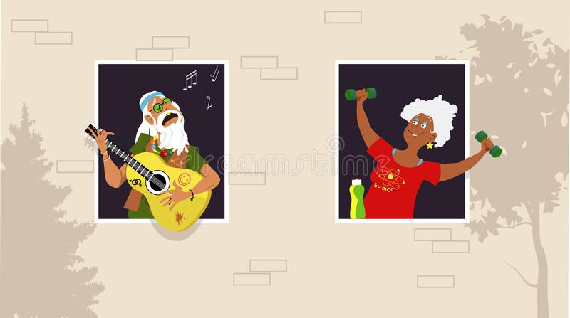 Friendly neighbors. Mature woman working out at the window, listening her old hippy neighbor playing guitar and singing, EPS 8 vector illustration vector illustration