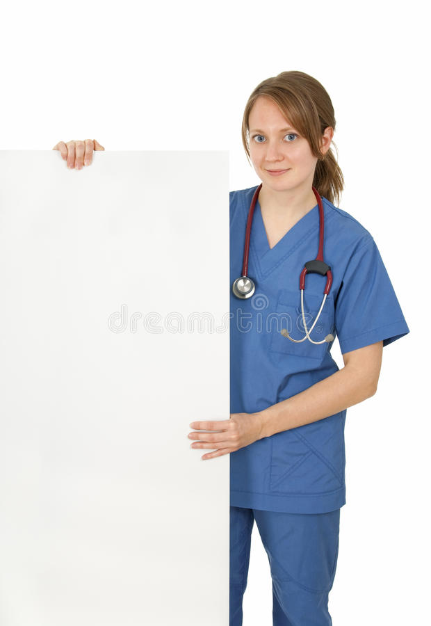 Download Friendly Nurse Holding Blank Banner Stock Image - Image of cardiology, doctor: 15852637