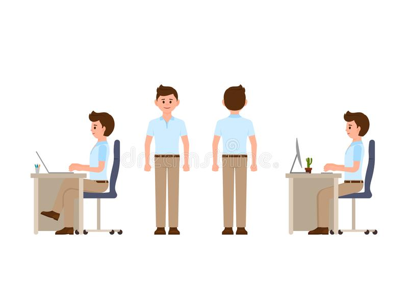 Friendly office worker sitting at the desk, standing. Vector illustration of manager in smart casual look. Friendly office worker sitting at the desk, standing royalty free illustration