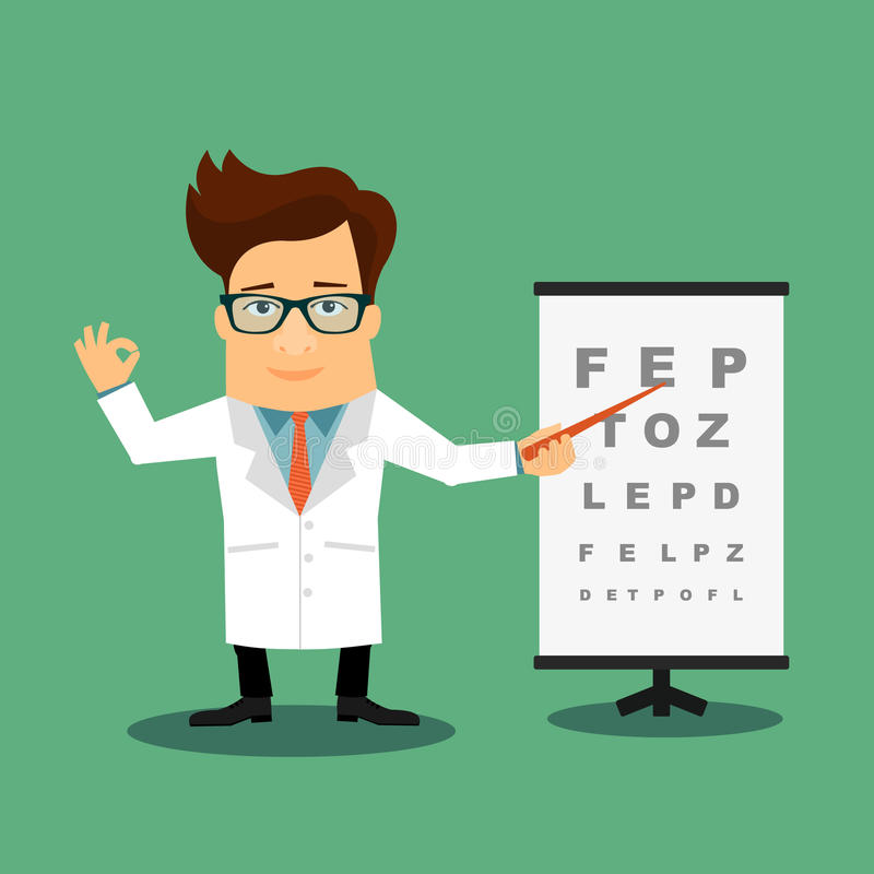 Friendly oftalmologist doctor. Cartoon character vector illustration