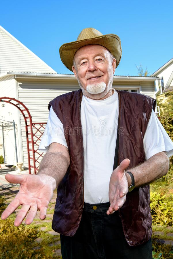 Friendly old man stock images
