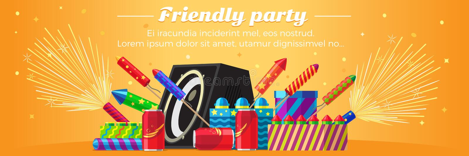 Friendly Party Banner. Fireworks for Festivals. Friendly party banner fireworks for festival and party. Different kinds of amazing fireworks and salute elements stock illustration
