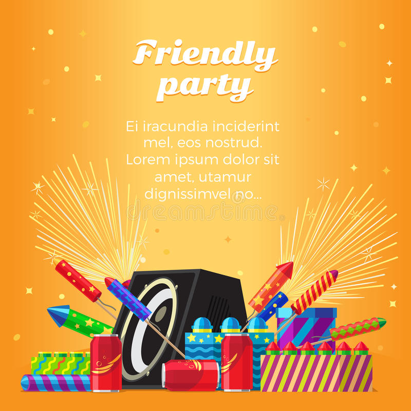 Friendly Party Banner. Fireworks for Festivals. Friendly party banner fireworks for festival and party. Different kinds of amazing fireworks and salute elements royalty free illustration