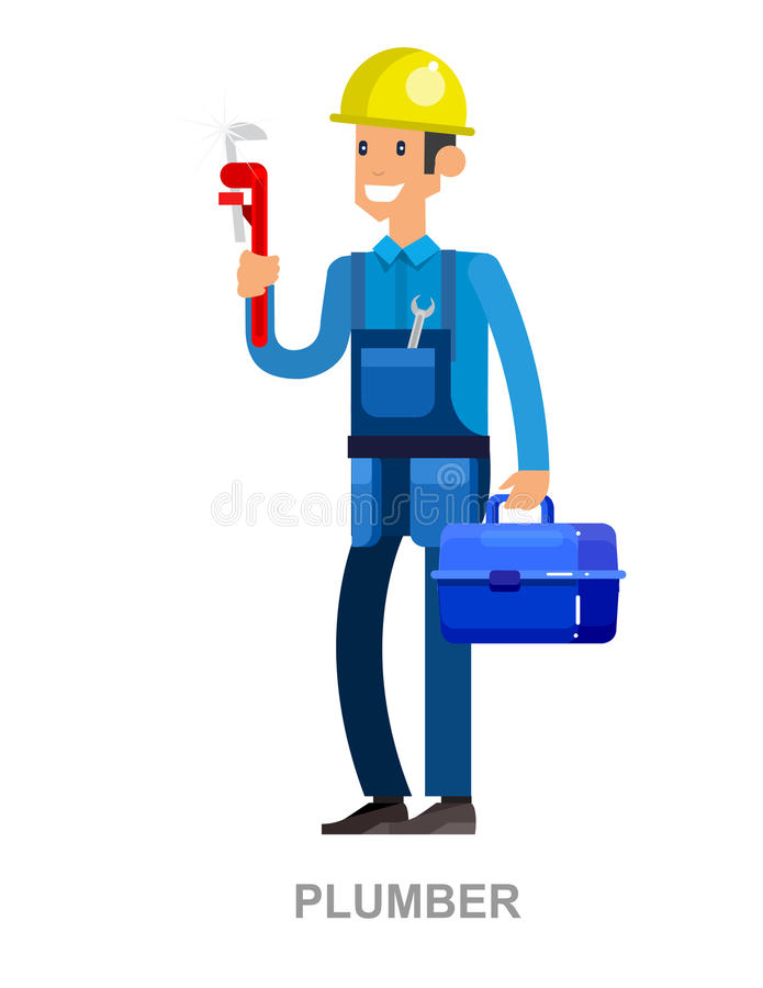 Friendly plumber, he is dressed in work clothes and carrying a tool stock illustration