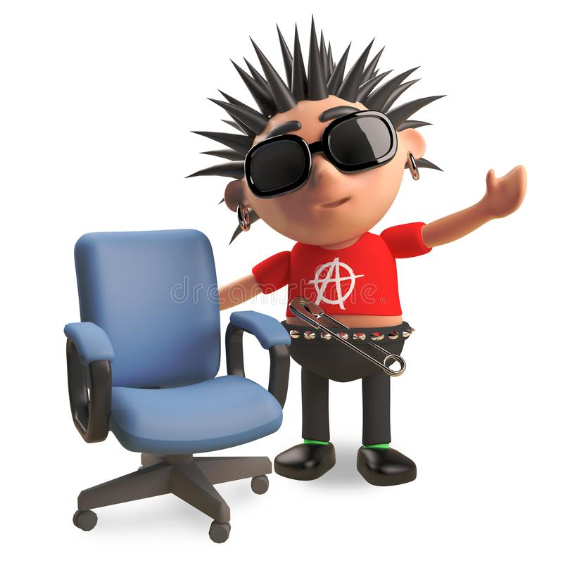 Friendly punk rocker with spikey hair has a vacant office chair, 3d illustration. Render stock illustration