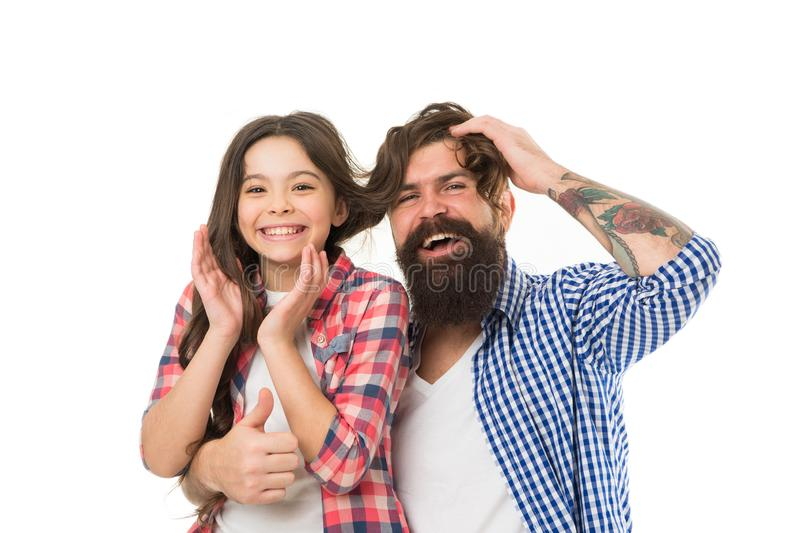 Friendly relations. Parenthood and childhood. Fathers day concept. Lovely father and cute kid. Happy to be father. Going. Crazy together. Father and daughter stock photo