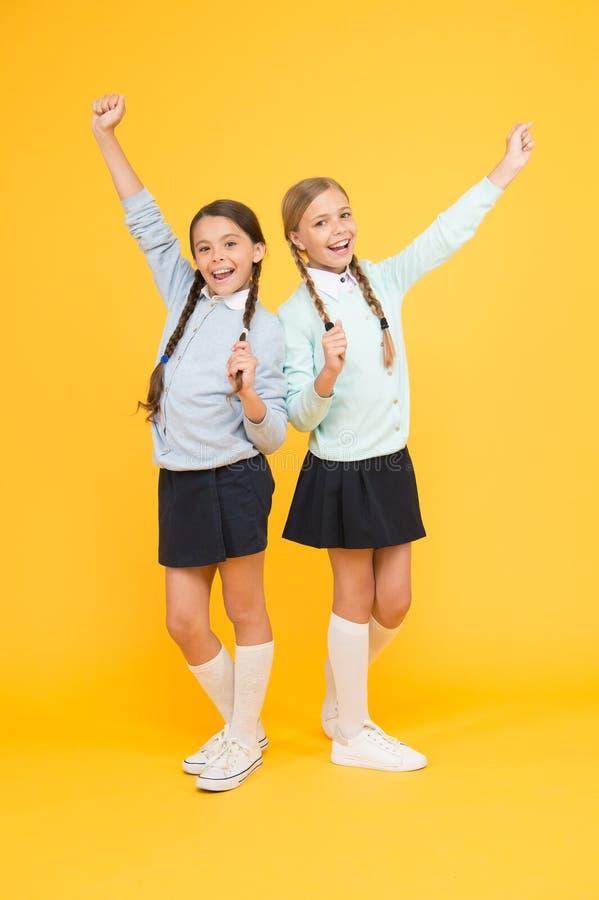 Friendly relationship. Friendship goals. Cute school girls classmates. My dear friend. First school day. Sisterhood and. Friendship. Cheerful mood concept royalty free stock images