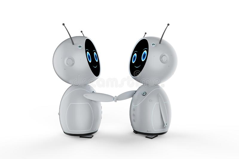 Friendly robot hand shake vector illustration