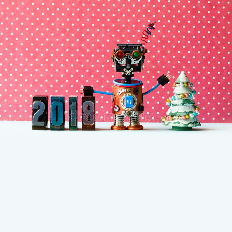 Friendly robot 2018 letterpress digits, red dot background pattern. Creative design new year xmas poster. copy space.  stock images