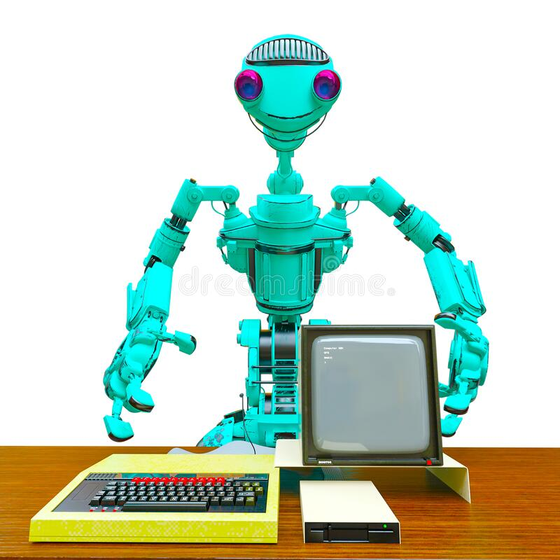Friendly robot with an old desktop computer in white background close up royalty free illustration
