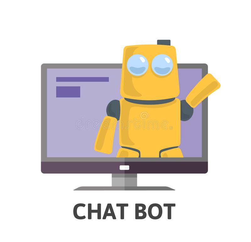 Friendly robot waving hand from computer screen. Hello from the bot. Chatbot. Flat vector illustration. Isolated on royalty free illustration