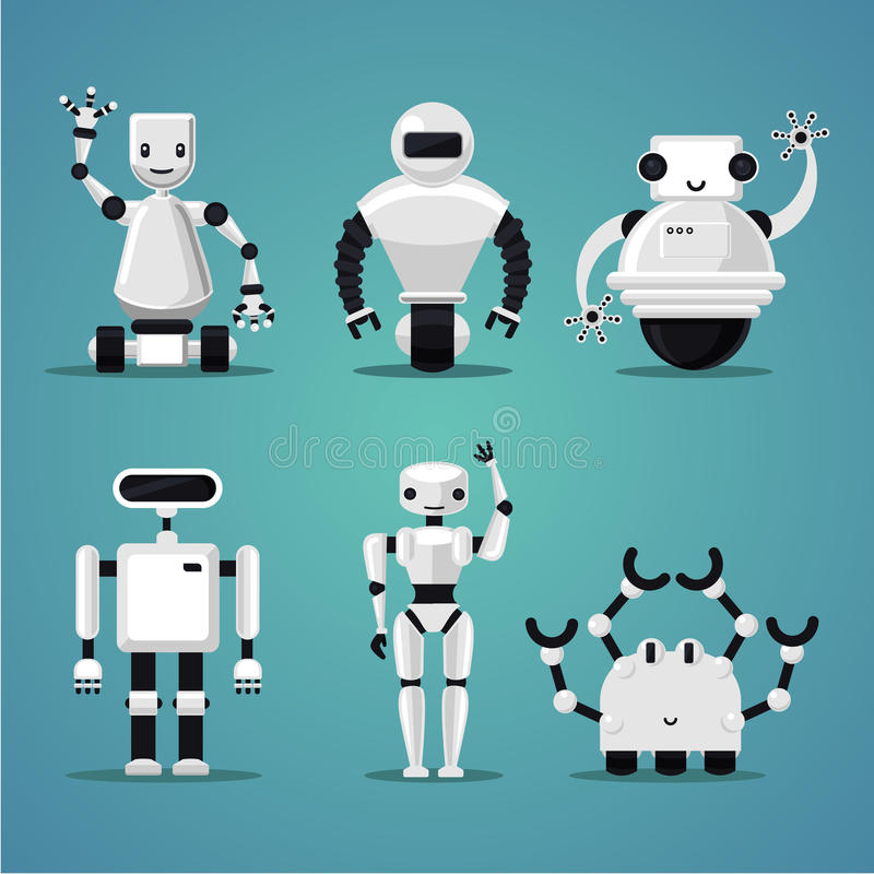 Friendly robots collection. Futuristic design. Electronic toys set. Electronic toys set. White plastic. Friendly robots collection. Futuristic design vector illustration